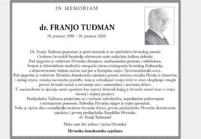 IN MEMORIAM: Dr. FRANJO TUĐMAN (10. prosinca 1999. – 10. prosinca 2020.)